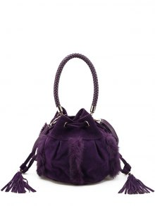 Braid Tassel Furry Bucket Bag - Purple