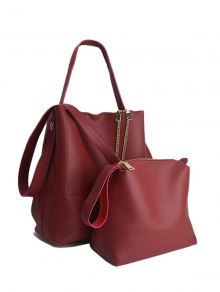 Concise Chains PU Leather Shoulder Bag - Red