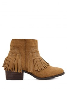 Buy Fringe Zipper Stitching Ankle Boots 38 BROWN