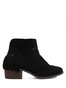 Buy Fringe Zipper Stitching Ankle Boots 38 BLACK