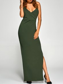 Back Criss High Slit Surplice Maxi Slip Dress - Army Green