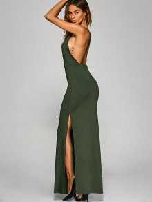 Back Criss High Slit Surplice Maxi Slip Dress ARMY GREEN: Maxi ...