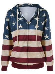 American Flag Printed Zipper Up Hoodie