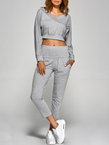 V Neck Back Cutout Crop Top With Pants - Gray Xl
