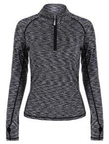 Heathered Topstitched Zipper T-Shirt - Gray Xl