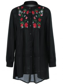 Buy Plus Size Flower Embroidered High Low Blouse 3XL BLACK