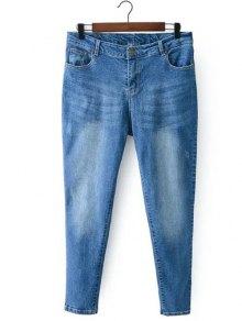 Bleach Wash Zip Fly Denim Pants - Light Blue Xl