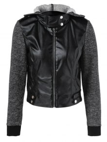 Buy Zip Pockets PU Patchwork Hooded Jacket - BLACK M