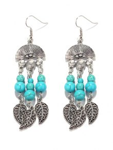 Bohemian Turquoise Leaf Chandelier Earrings