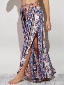 Paisley Pattern High Slit Maxi Skirt