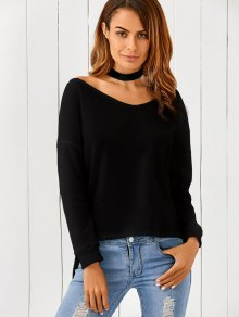 Loose One-Shoulder Sweater - Black S