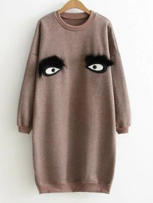 Eye Pattern Sweatshirt Dress