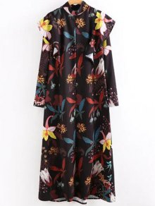 High Neck Printed Ruffled Maxi Dress - S