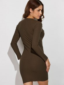 Lace Up V Neck Sweater Dress - ARMY GREEN S