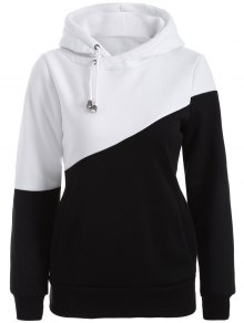 Casual Color Block Hoodie - White And Black L