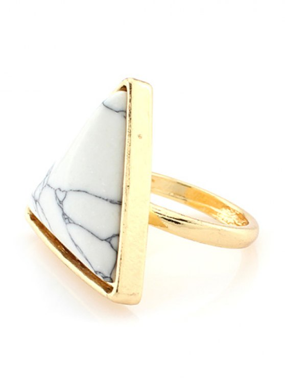 Triangle Faux Turquoise Ring - WHITE  Mobile