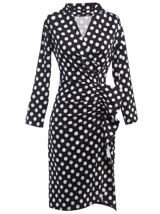 latest Polka Dot Ruched Surplice Dress - BLACK 2XL