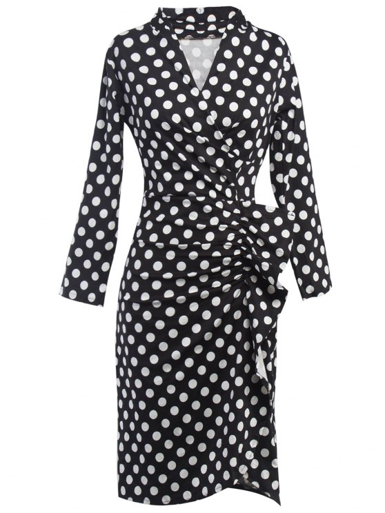 trendy Polka Dot Ruched Surplice Dress - BLACK XL