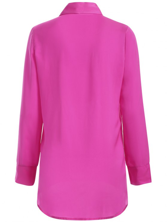 Long Sleeve Pussy Bow Blouse - ROSE RED S Mobile