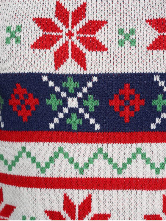 Christmas Jacquard Plus Size Sweater - WHITE XL Mobile