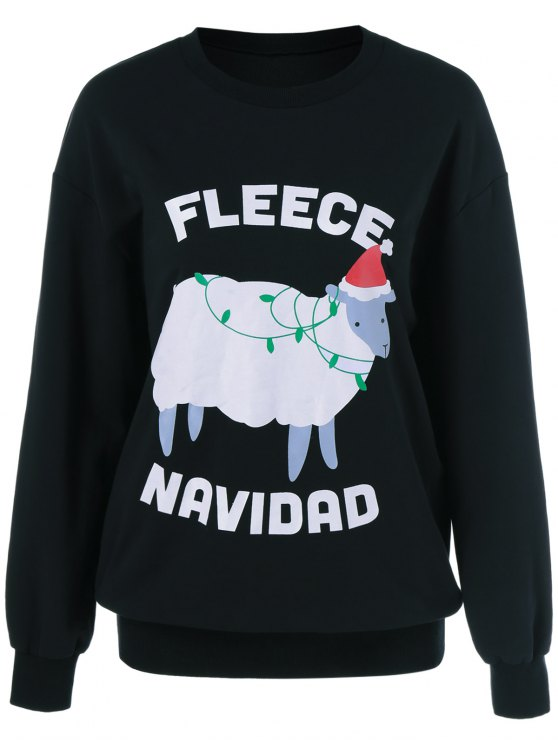 Navidad Pattern Fleece Sweatshirt - BLACK XL Mobile