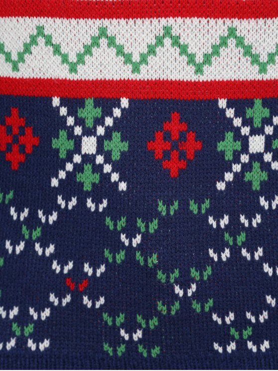 Christmas Snowflake Jacquard Plus Size Pullover Sweater - DEEP BLUE 5XL Mobile