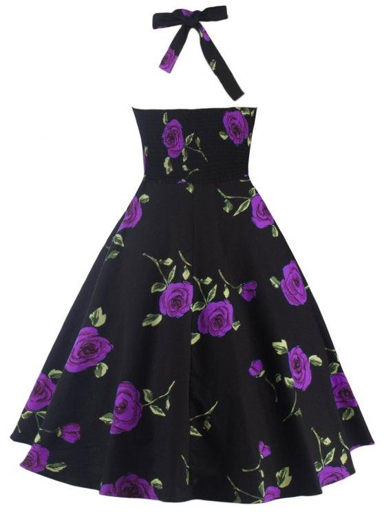 Halter Floral A Line Cocktail Skater Dress - PURPLE M Mobile