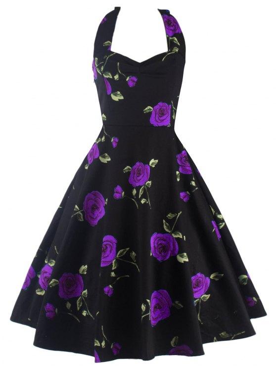 Vestido Cabestro Vintage Estampado Rosa - Púrpura M