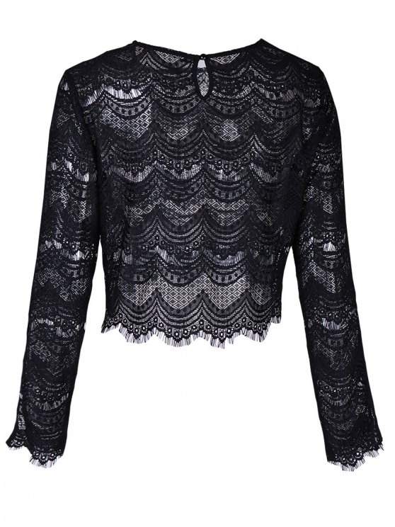 Round Neck Long Sleeve Lace Top - BLACK S Mobile