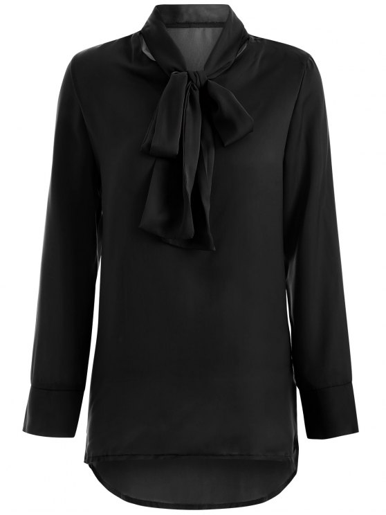 Long Sleeve Pussy Bow Blouse - BLACK M Mobile