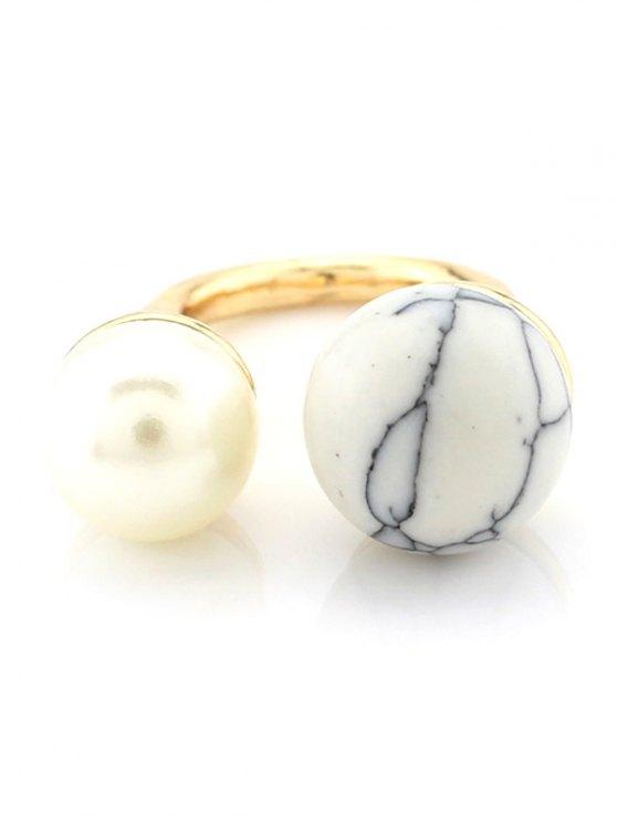 Faux del anillo de perlas de cuentas - Blanco
