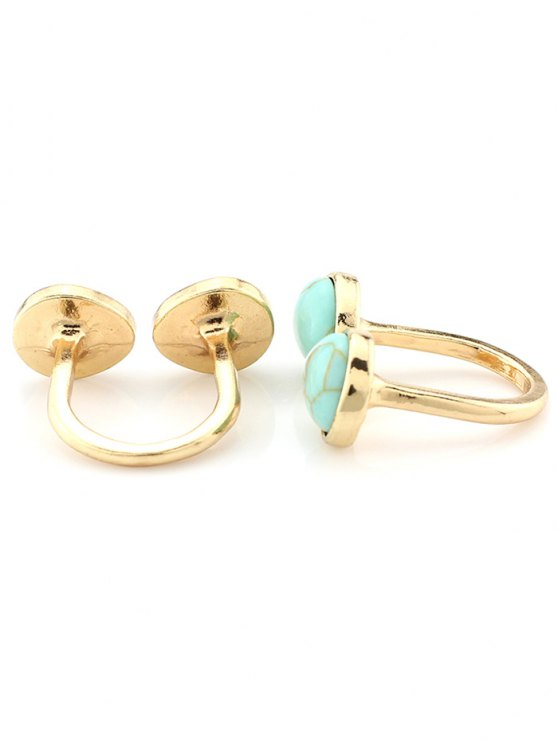 Faux Turquoise Cuff Ring - TURQUOISE  Mobile