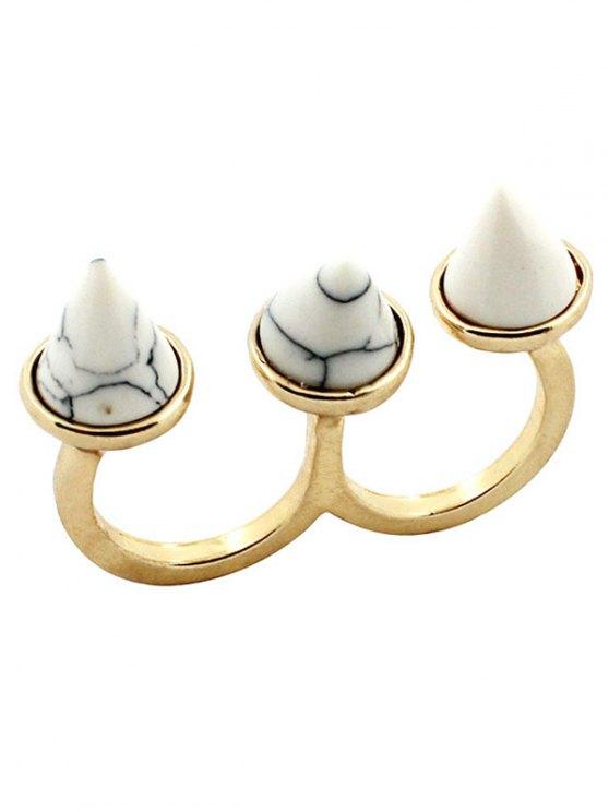 El anillo de dedo triple cono - Blanco