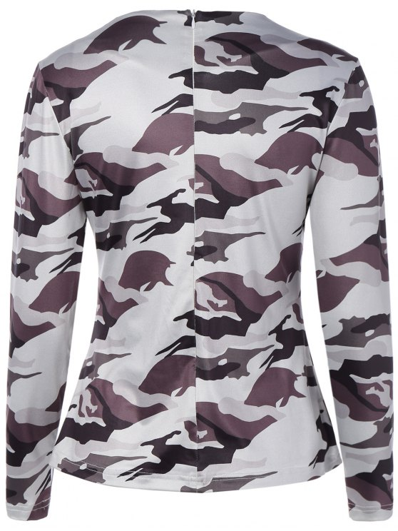 Cut Out Camouflage T-Shirt - WHITE M Mobile