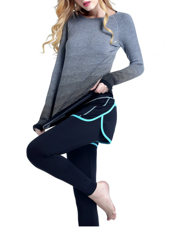Ombre Yoga Gym T-Shirt - BLACK S Mobile
