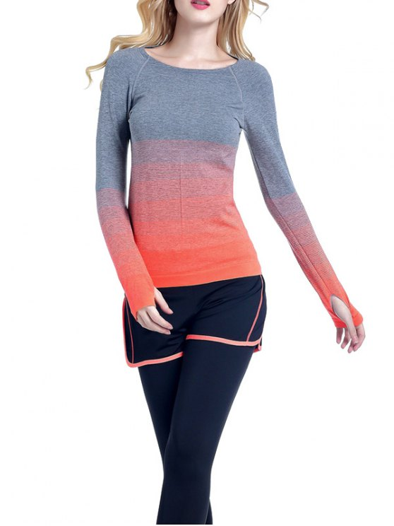 Ombre Yoga Gym T-Shirt - ORANGE L Mobile