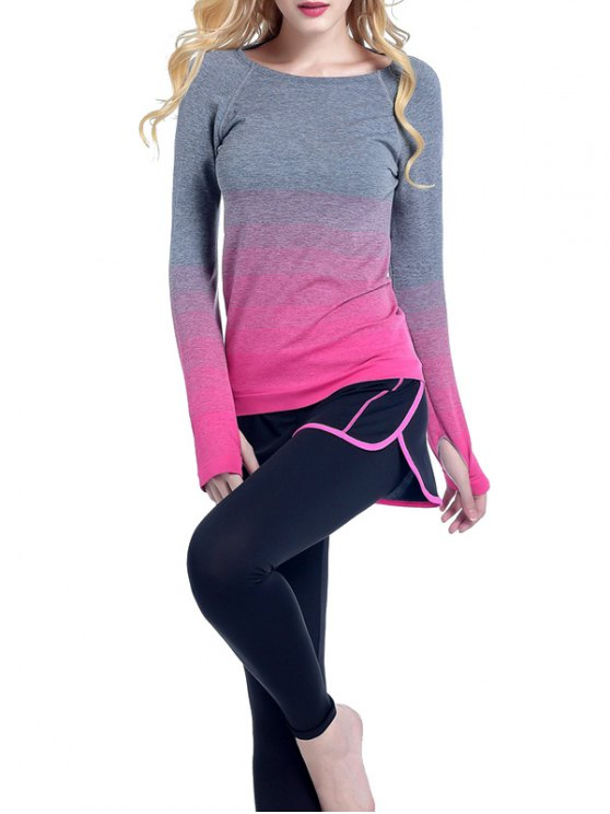 Ombre Yoga Gym T-Shirt - ROSE RED L Mobile