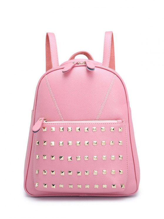 womens PU Leather Stitching Rivet Backpack - PINK