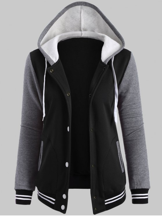 Hooded Varsity Baseball Fleece Sweatshirt Jacket - BLACK 4XL Mobile