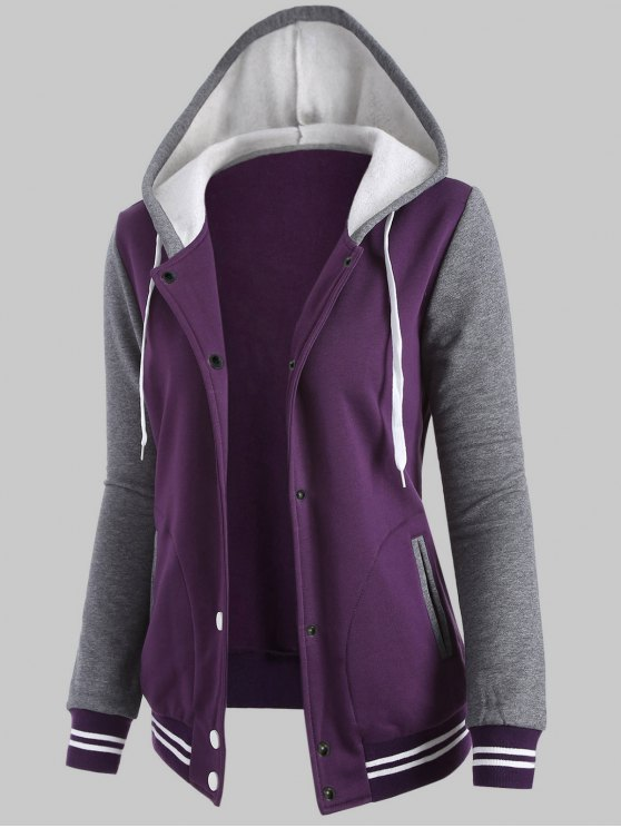 Hooded Varsity Baseball Fleece Sweatshirt Jacket - PURPLE XL Mobile