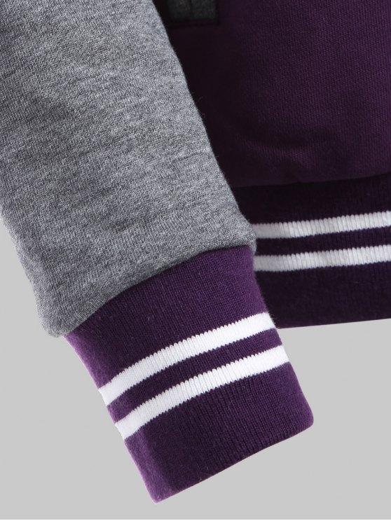Hooded Varsity Baseball Fleece Sweatshirt Jacket - PURPLE 5XL Mobile