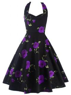 Halter Floral A Line Cocktail Skater Dress - Purple M
