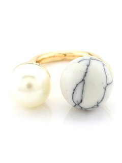 Faux Pearl Bead Ring - White