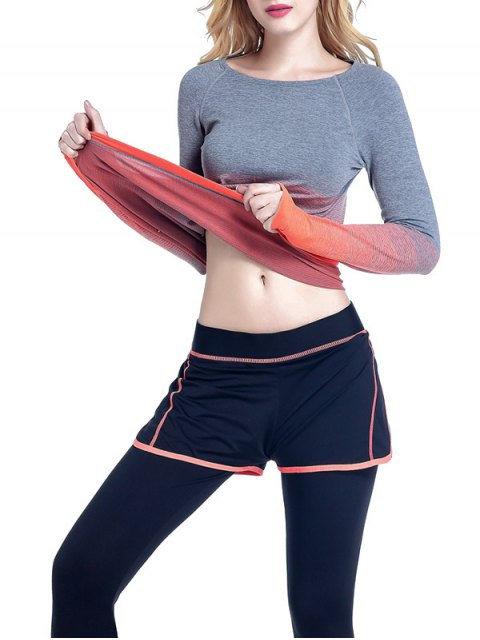 outfits Ombre Yoga Gym T-Shirt - ORANGE M Mobile