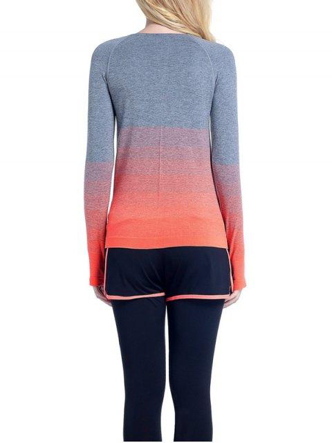 shop Ombre Yoga Gym T-Shirt - ORANGE S Mobile