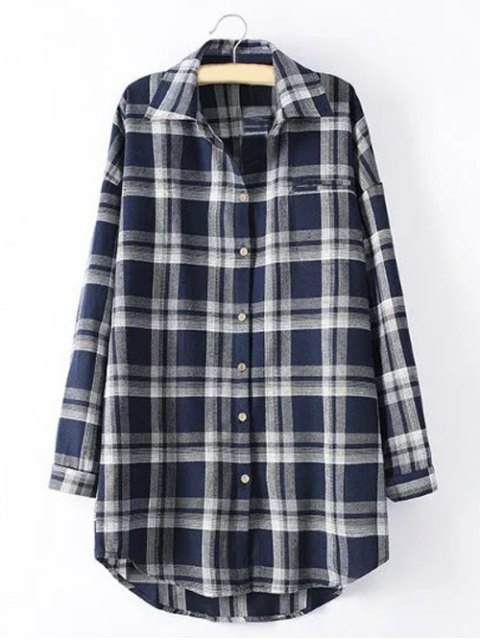 sale Long Sleeve Checked Long Shirt - BLUE XL Mobile