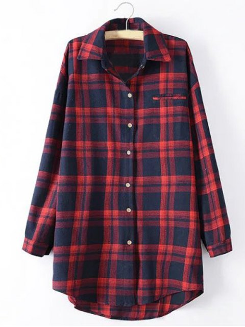 women Long Sleeve Checked Long Shirt - RED XL Mobile