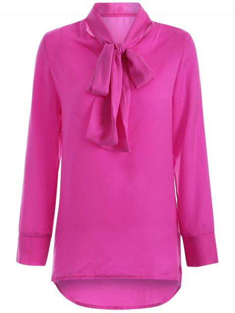 women Long Sleeve Pussy Bow Blouse - ROSE RED M Mobile