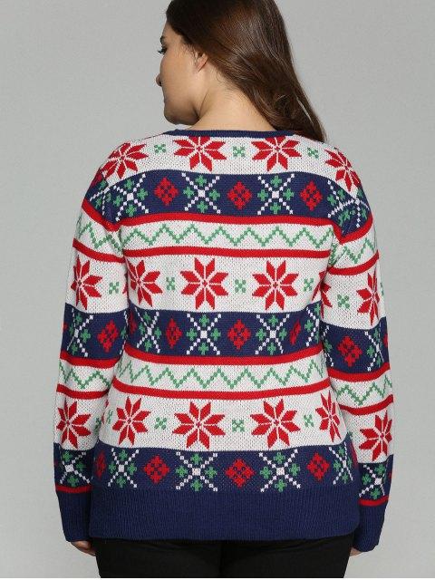 trendy Christmas Jacquard Plus Size Sweater - WHITE 5XL Mobile