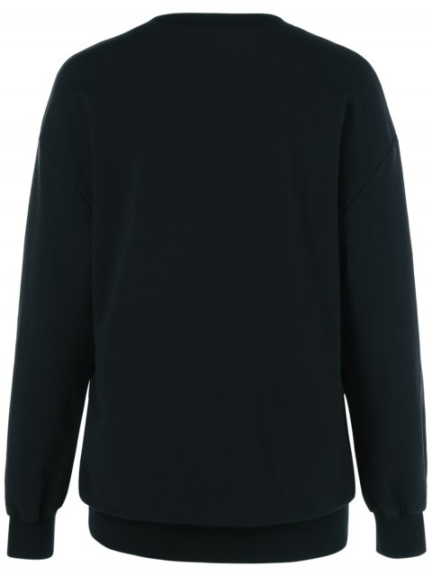 fancy Navidad Pattern Fleece Sweatshirt - BLACK M Mobile
